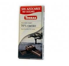 CIOCOLATA NEAGRA 70% CACAO (fara zahar si gluten) 75gr